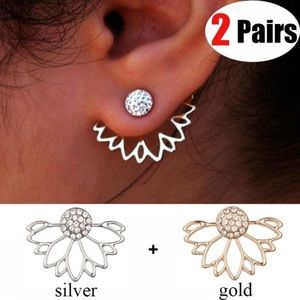 Jewelry - Lotus Diamond Studded Earrings (2 Pairs!)